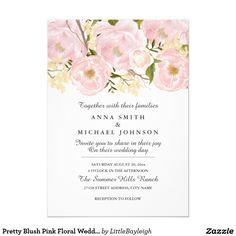Pretty Blush Pink Floral Wedding Invitation