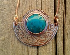 Variscite and Etched Copper Pendant Copper by ColoringOutside1