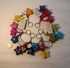 Colourful star felt keyrings. by DottyBirdKidsClothes on Etsy