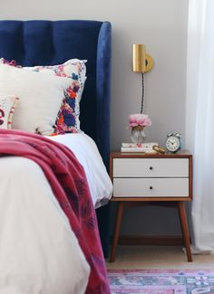 Be Bold With Upholstery || Blue velvet headboard - House of Hipsters