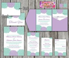 Wedding Pocketfold Template | 5x7 Chrysanthemum Pocket Fold | Lavender Purple Spring Mint Green | Invitation, RSVP, Insert, Thank You Card by PaintTheDayDesigns on Etsy, $45.00