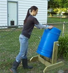 recycled water barrel and a few extra pieces, I made my own composter. And, it spins-no pitchfork required.
