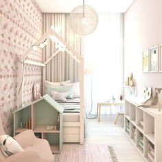 Narrow nursery for girls with attractive lighting, attractive Baby Bedroom, Baby Room Decor, Girls Bedroom, Bedroom Decor, Ikea Kids Room, Narrow Rooms, Girl Bedroom Designs, Kids Room Design, Little Girl Rooms