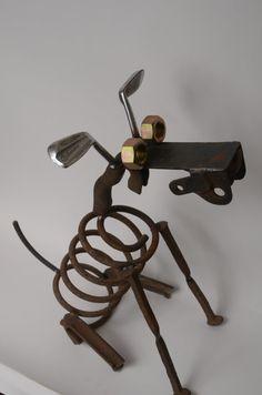 Dog scrap metal sculpture by IowaCreations on Etsy