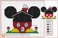 """Delicado Cantinho: Grafico Ponto Cruz """"Casinha Mickey"""""""