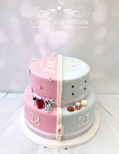 Cake Celebrations work closely with our customers, listening to requirements and interpreting them into the finished masterpiece. Girly Birthday Cakes, 18th Birthday Cake, Birthday Ideas, Luxury Wedding Cake, Wedding Cakes, Cake Hacks, Twins Cake, 21st Cake, Make Up Cake