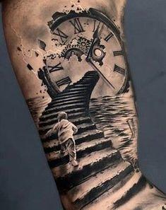 Clock Tattoo Ideas | Golden Canvas Tattoo & Art Studio Forearm Tattoos, Body Art Tattoos, Tattoo Drawings, Hand Tattoos, Best Sleeve Tattoos, Tattoo Sleeve Designs, Tattoo Designs Men, Trendy Tattoos, Tattoos For Guys