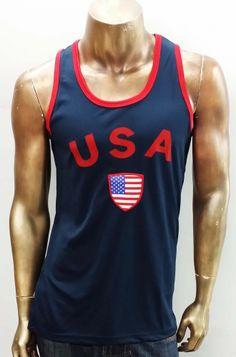 6dbe7eb2410f07 Men USA Soccer Jerseys Tank Top.(Navy)  HawksBay  USA