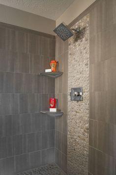 "Contemporary Master Bathroom with Hudson Reed 8"" Square Rainshower Head & Arm, Pebble Tile Shop Java Tan Pebble Tile"