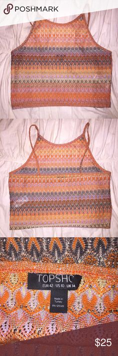 TOPSHOP STRIPED CROP TOP Top shop knit-style striped crop top will fit size 8 as well. Worn once at festival great condition. Size 10 Topshop Tops Crop Tops