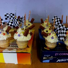 Cake in a cone for my 9 year old boys go karting party! 16th Birthday, Birthday Parties, Birthday Cake, Birthday Ideas, Go Kart Party, Cake In A Cone, Themed Cupcakes, Party Themes, Party Ideas