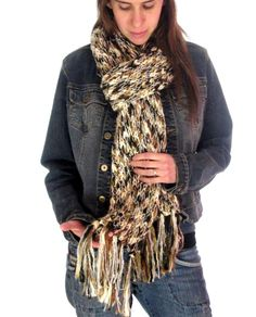 Large Brown & Tan Ladies Scarf, Warm Knitted Material, Soft Winter Sparkly Scarf   http://stores.ebay.com/theanothercorner/