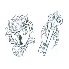 Lock and Key tattoos - would love for me and hubbie to get these maybe me get the lock and him the key, or vice versa.
