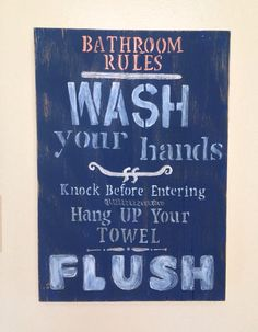 Handmade and painted 'Bathroom Rules - bathroom decor on Etsy, $85.00