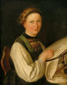 Portrait d'une jeune fille sur le cadre de broderie. Huile sur toile 1834 de Franz KRAMMER (autrichien)