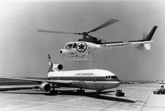 Did you know that for a few months in Air Canada operated its own helicopter service? Instead of enduring highway traffic into Toronto, you could hitch a ride from Pearson to Toronto's city airport in a helicopter! Canadian Airlines, City Airport, Canada Maple Leaf, Passenger Aircraft, Helicopters, Knights, Airplanes, Toronto