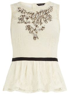 Embellished lace peplum top from Dorothy Perkins