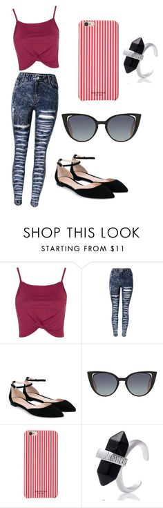 """Untitled #2"" by victoriamello11 on Polyvore featuring Topshop, Gianvito Rossi, Fendi and Isaac Mizrahi"