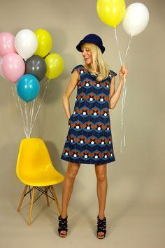 """Knielange Kleider - A-LINIEN-KLEID """" TIGERLILLY BLUE"""" - ein Designerstück von Bonnie-and-Buttermilk bei DaWanda"""