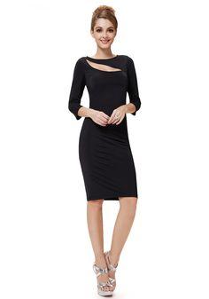 Knee Length  Black Jewel 3/4 Length Sleeve Cocktail Dress
