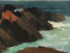 Edward Hopper, Rocks and Swirling Water on ArtStack #edward-hopper #art