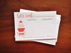 Letterpress Recipe Cards - set of ten; $14 on etsy