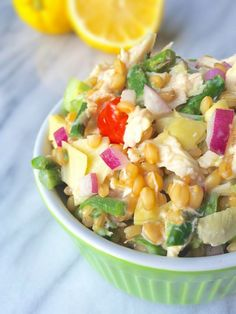 Wheat Berry Chicken Salad with Artichokes, Asparagus and Creamy Goat Cheese