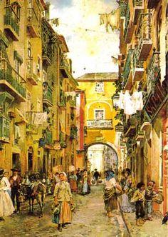 Rua do Arco do Marquês do Alegrete (c. 1910). Aguarela de Alfredo Roque Gameiro.