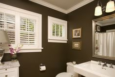 Traditional Bathroom by Kayron Brewer - light tan on ceiling, darker brown in same family on the walls, white crown molding for nice separation.