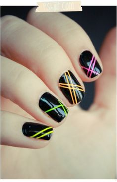 TOO COOL! You paint your nails neon colors, then put thin pieces of tape in designs you like, paint the nail black, then remove the tape (in French)