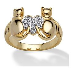 Round Crystal 14k Yellow Gold-Plated Cats and Heart Ring ($22) ❤ liked on Polyvore featuring jewelry, rings, jewelry & watches, white, heart shaped rings, cat ring, 14k gold ring, crystal rings and 14k gold jewelry