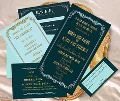 art deco,1920's, wedding invitation, old hollywood, elegant, Gatsby, glamour, affordable, classic, blue, green, gold.