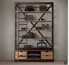 hermosa biblioteca-estanteria hierro y madera reciclada