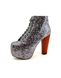 Jeffrey Campbell Lita Platform Boot in Pewter Glitter