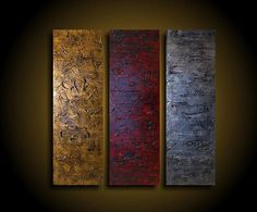 Abstract Painting - Large Painting - Original Painting - 3 Piece - 36 x 36 - Art Artwork - Modern Painting - Red Burnt Gold Gunmetal Silver