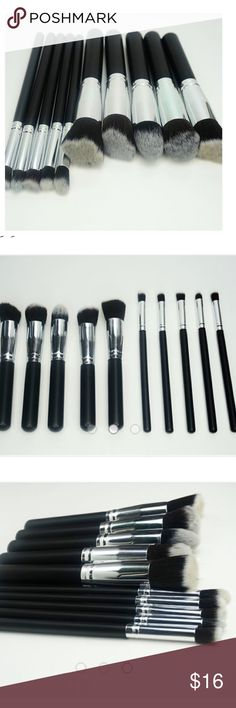 Wongcosmetics.com 10 pc makeup brush set in black Wongcosmetics.com 10 piece makeup brush set in black/silver. These super soft babies are the perfect starter set and a MUST for your makeup brush collection. They feel absolutely fantastic! Check out our website for our full line of makeup palettes, highlighters, brushes and eyelashes. Wong Cosmetics Makeup Brushes & Tools