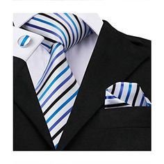 Hagora Mens White Silver Grey Striped Simple Classy Basic Handmade Cotton Tie