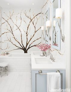 """I love cherry blossoms,"" says designer Caroline Beaupère. ""And this master bath in a house in Jersey City, New Jersey, was inspired by hanami, the Japanese tradition of going to see the blossoms as part of a celebration of spring.""   - HouseBeautiful.com"