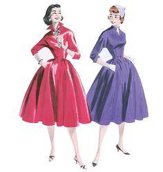 Elegant 1940s Dress Butterick Pattern...methinks I want to make the purple one.