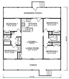Modern Design 4 Bedroom House Floor Plans FOUR BEDROOM HOME PLANS ...