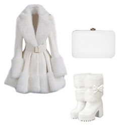 Choies White Lapel Long Sleeve With Belt Pouf Coat Classy Outfits, Pretty Outfits, Stylish Outfits, Cool Outfits, Mode Mantel, White Fur Coat, Jugend Mode Outfits, Cute Coats, Mode Chic