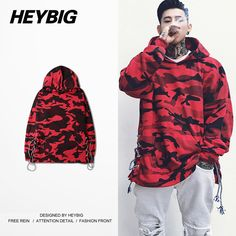 Кулиска Мода Camo Hood 2016 Декабрь Красного Камуфляж High Street фуфайка HEYBIG хип-хоп толстовки Азиатского размер