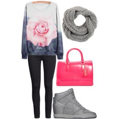A fashion look from March 2015 featuring H&M jeans, NIKE sneakers and Furla handbags. Browse and shop related looks.