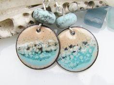 Beach Walk Copper Earrings Lampwork Beads Pacific Ocean Copper Earrings, Copper Jewelry, Jewelry Crafts, Handmade Jewelry, Jewelry Ideas, Jewelry Dresser, Enamel Jewelry, Jewellery, Handmade Sterling Silver