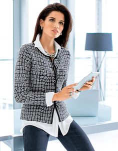 Cardigan in Cloqué look in the colors gray / black, black, royal / black, emerald / black - royal blue - gray, blue, green