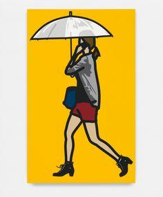 "(USA) ""Plastic umbrella"" 2014 by Julian Opie (British born, ). Silkscreen on painted wooden board. Umbrella Art, Under My Umbrella, Art Et Illustration, Illustrations, Andy Warhol Museum, Drawing People Faces, Art Postal, Rain Art, Collage"