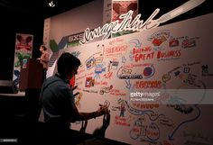 ImageThink illustrated panel map at 'Lessons From BuzzFeed' during... News Photo | Getty Images