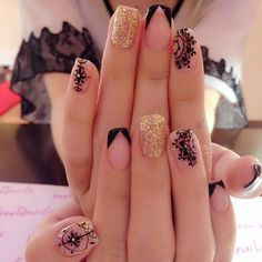 french nails with rhinestones Beautiful Perfect Nails, Gorgeous Nails, Pretty Nails, Acrylic Nail Designs, Nail Art Designs, Acrylic Nails, Nails Design, Lace Nails, Glitter Nails