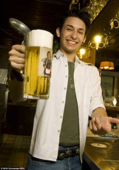 Cheers! Thomas Neuwirth enjoys a stein of beer in Austria in the days before he developed ...