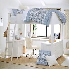 Find teen bunk beds and loft bunk beds at Pottery Barn Teen to make the most of your room. Save space when you sleep and study all in one place with a loft bed. Loft Beds For Teens, Bunk Beds For Girls Room, Loft Bunk Beds, Modern Bunk Beds, Bunk Beds With Stairs, Bed Rooms, Girl Loft Beds, Cute Beds For Girls, Teen Bunk Beds